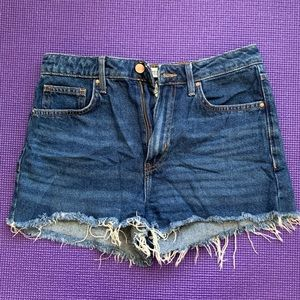 Fringe High-Waisted Jean Shorts